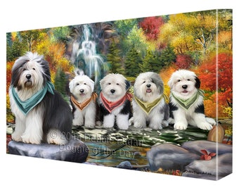 Scenic Waterfall Old English Sheepdogs Canvas Wall Art