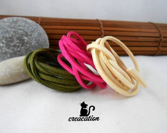 3 meters of Suede, 3 colors: khaki green, fuchsia pink and beige 3mm