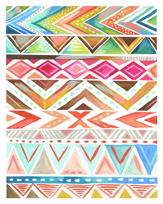 Azalea Stripe Art Print Geometric Aztec Artwork Watercolor