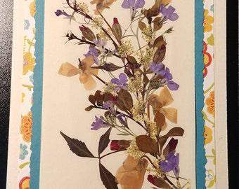 Pressed flower greeting card (blank) Blue Fancy