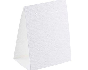 White Paper Earring Tent Card - Textured Cardstock Jewelry Display - Set of 25