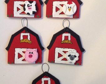 Personalized Hand Painted Wood Barn Farm Animal Christmas Ornament Pig Horse Chicken Cow Sheep