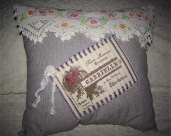 Shabby Country Cottage, French Farmhouse Mattress , Repurposed Embroidered Doily Scarf Pillow