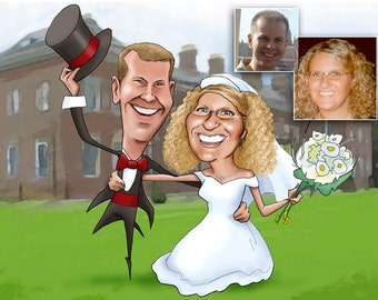 Two Person Colour Caricature with background