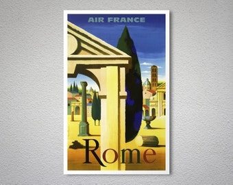 Rome Air France  Airline Travel Poster - Poster Print, Sticker or Canvas Print / Gift Idea