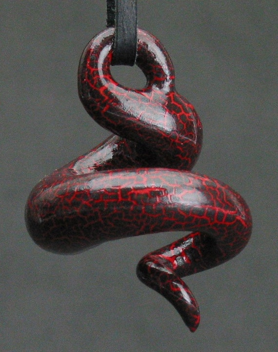 squiggly swirl organic neon red and black crackle ceramic pendant