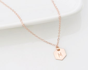 Personalized Initial Geometric Jewelry, Minimal Geometric Necklace, Rose Gold Hexagon Necklace, Layering Necklace, Minimalist Necklace