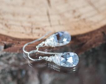 Crystal Earrings Small Drop Earrings Wedding Swarovski Earrings Bridal Earrings Bridesmaid Earrings Gift for Her Silver Wrapped Earrings