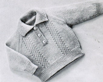 Knitted Baby Pullover with Buttons pattern PDF / 6 to 9 months / Stylish Baby Pullover
