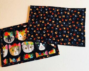 "Mug rug, cat mug rug, 6""x9"" cat coaster, large coaster, small placemat, cat lover gift, pet lover gift"