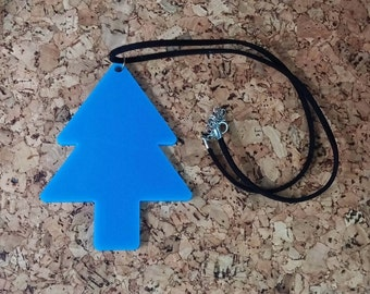 Fir tree Necklace, Blue Pendant  with black Velvet cord Chain - small size 2""