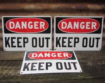 Price per Sign Industrial Sign DANGER Keep Out Antique Porcelain Sign Red White Black Metal Sign Vintage Sign Mine Factory VTG Enamel Sign