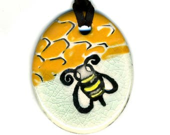 Bumble Bee Ceramic Necklace