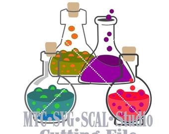 SVG Cut File Potion Bottles/Jar Embellishment Bundle of 4 Cutting MTC SCAL Cricut Silhouette Cutting Files