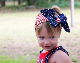 Baby 4th of July Headband Head Wrap, 4th of July Baby Girl Headband Head Wrap, Stars and Stripes Fabric Head Wraps for Babies, July Baby