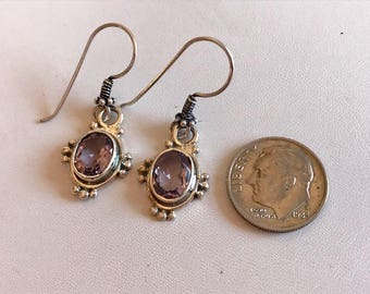 Amethys Earrings-Amethyst Gemstone Drop Earrings