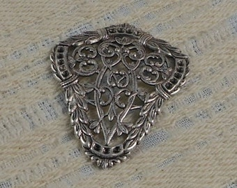 LuxeOrnaments Antique Sterling Silver Plated Brass Victorian Filigree Floral Focal (Qty 1) G-7450-D-S