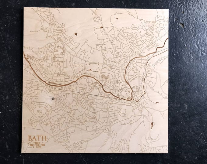 Laser Engraved Map of Bath - Cartography - Unique Gift