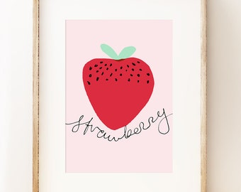 Strawberry wall art print. Graphic art poster. Kid's room. Affordable art.