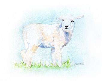 Lamb Watercolor Painting Print - Giclee Print - 7 x 5 - Nursery Art - Baby Farm Animals - Nursery Art