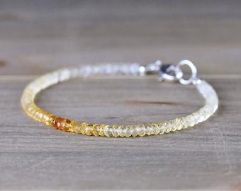 Beaded Citrine Bracelet, Ombre Citrine Jewelry in Sterling Silver or Gold Filled, November Birthstone Bracelet, Yellow Gemstone Bracelet