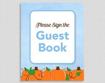 Guest Book Sign, Blue Pumpkins, Baby Boy Shower Sign, Fall Shower, Autumn, INSTANT PRINTABLE