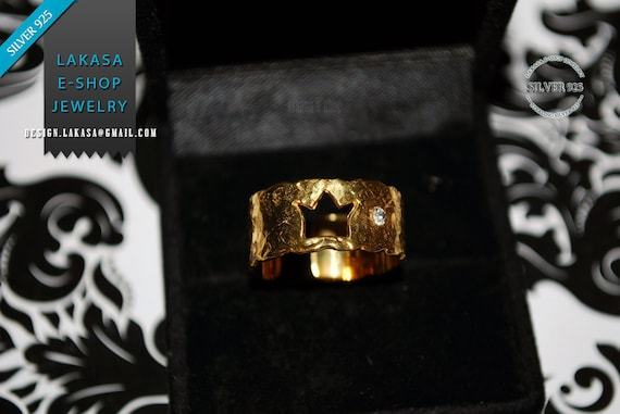 Crown Chevalier Ring Sterling Silver 925 Gold-plated with Rhinestone Crystal Handmade Jewelry You are my Princess Love Gift Woman Valentine