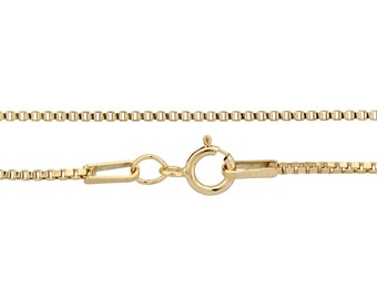 14kt Gold Filled 1mm 24 Inch Box chain with spring ring clasp - 1pc Finished Box Chain (3075)/1