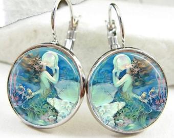 Mermaid With Giant Pearl Leverback Earrings (ER0508)
