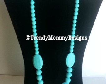 SALE! Turquoise Silicone Teething Necklace for Mommy! BPA Free, fda Approved Food-Grade Silicone!