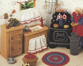 90s Country Kitchen Crochet Doll Furniture for Barbie and Doll Houses Annie's Fashion Doll Home Decor Crochet Collectors Guild 534B