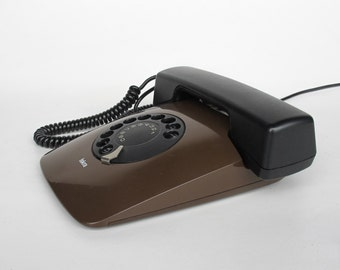 Vintage  Rotary Telephone Iskra ETA 80 82 / Brown / Working Condition / MOMA Collection