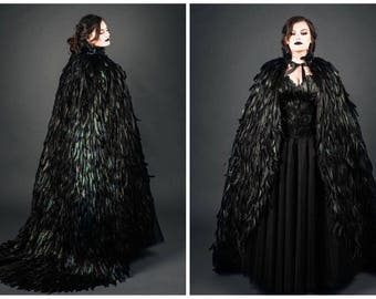 Black and Green Iridescent Feather Couture Maleficent Inspired Cape