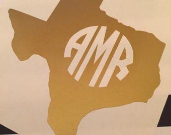 Texas State Monogram Vinyl Decal - ANY State Monogram Decal