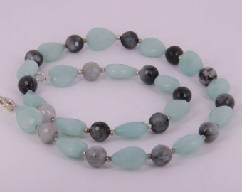 Beautiful amazonite beaded necklace.ready to wear. 48 cm long.