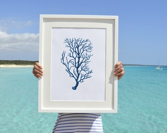 Blue branched coral Antique sealife Illustration - Wall decor Poster A3 Plus size  , A3 Marine Poster sea life poster SWC027A3P