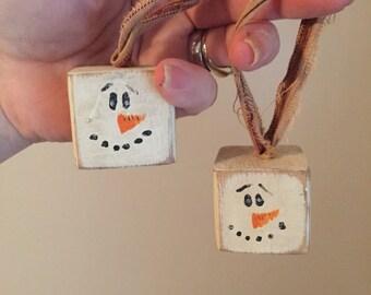 Snowman Block Ornaments
