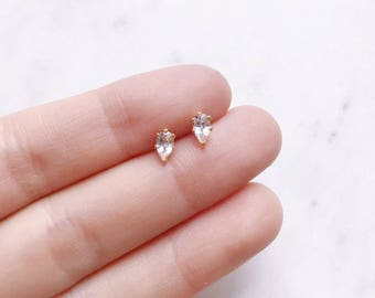 Gold White topaz studs, April birthstone earrings, tiny studs, cartilage stud, teardrop gemstone earrings, bridesmaid gift, girl earrings