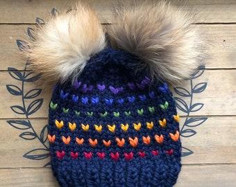 Pom pom hat, Fair Isle Knit hat, Rainbow fair isle knit hat w. faux fur pom pom, knit winter hat, chunky fair isle knit hat