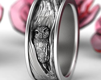Sterling Silver Owl Wedding Ring, Owl Wedding Band, Tree Bark Wedding Rings, Nature Inspired Wedding Ring, Owl In Tree Wedding Ring 5112