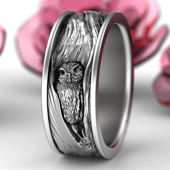 Sterling Silver Owl Wedding Ring, Owl Wedding Band, Tree Bark Wedding Rings, Nature Inspired Wedding Ring, Owl In Tree Wedding Ring 5112