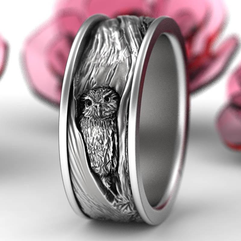 Sterling Silver Owl Wedding Ring Owl Wedding Band Tree Bark