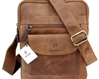 Starhide Mens Womens Distressed Hunter Brown Real Leather Cross Body / Travel Messenger Bag For Ipad Tablet 505