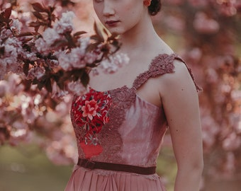 Fiona - Hand dyed Silk Ballet Dress in Pink with Embroidered Bodice