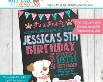 Puppy Party Invitation  - Puppy Paw-ty - Paw party - Personalized
