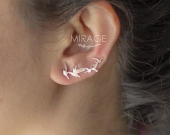 Statement Jewelry / Mood Jewelry / Flying Birds Ear Cuffs /  Pair / 925 Sterling Silver Ear Cuffs