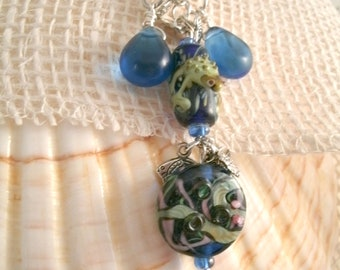 Frog Pond Bead Necklace Handmade Lampwork Glass Friendly Frog Bead with Vintage blue bead drops and Lampwork Focals