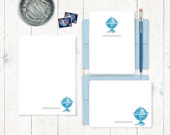 komplette persönlichem Briefpapier set - VINTAGE GLOBE - Hinweis Karten - Notizblock - Weltenbummler - männlich stationär