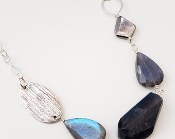 Midnight Meteor Shower, Labradorite, Iolite, Pyrite, Fine Silver, Sterling Silver Chunky Gemstone Necklace, erinelizabeth