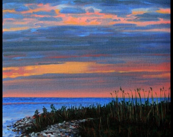 """Landscape Art Print - """"Evening Shore Clouds"""", Limited Edition Giclee Print on Fine Art Paper of Great Lake shoreline, 9"""" x 7"""""""